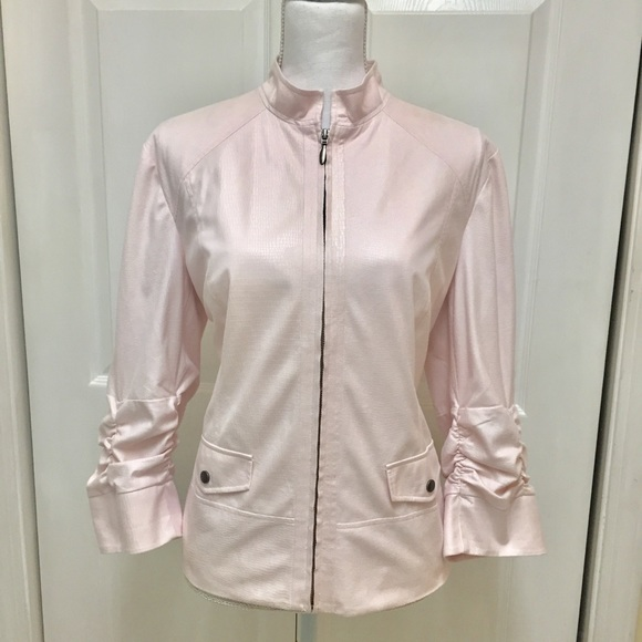 Chico's Jackets & Blazers - Chico's | Light Pink Zip Up Textured Jacket | Sz L